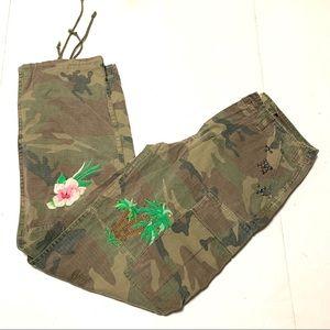 West Denim Bank Unique Camo Pants Palms & Floral